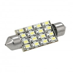 Led tubular 39mm de 16 smd branco, interior, matrícula