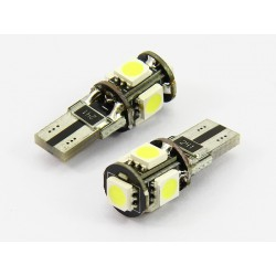 Led auto T10 de 5 smd branco can bus, mínimos, interior, matrícula
