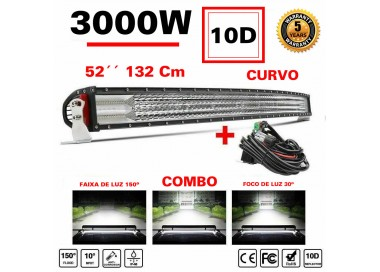 Barra Curva CREE LED 3000W Off-road  4x4 - 132 Cm , 52 Polegadas