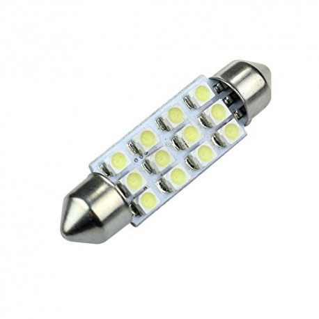 Led auto tubular 42mm  12 smd  branco, interior, matrícula