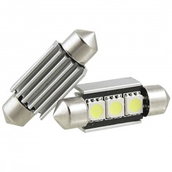 Led tubular 39mm  3 smd canbus branco, interior, matrícula