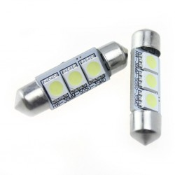Led tubular 36mm  3 smd  branco, matrícula, interior