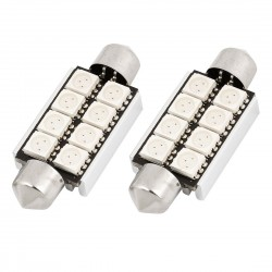 Led tubular 39mm de 8 smd  can bus branco, interior, matricula